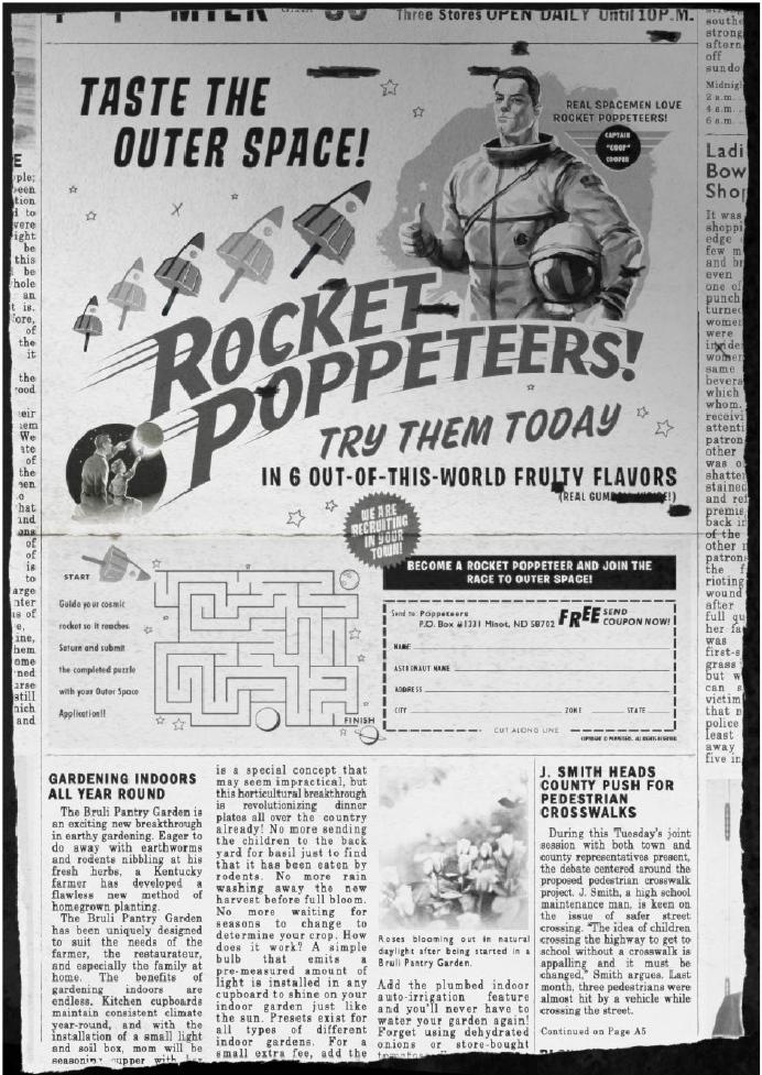 Il giornale con la pubblicità dei Rocket Poppeteers di Super 8